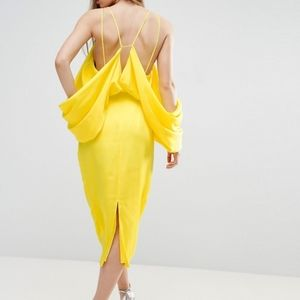 ASOS Yellow Extreme Sleeve Drape Satin Midi Dress